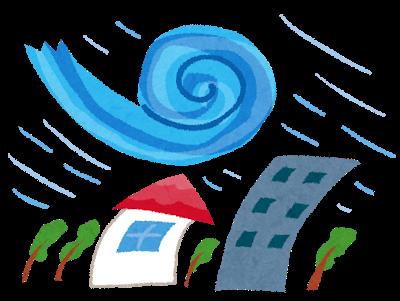 台風の強風で建物の付属設備が飛ばされる。